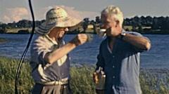 USA 1940: old man drinking tea outdoor Stock Footage