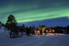 Aurora Borealis, Tennevik Lake, Troms, Norway. Stock Photos