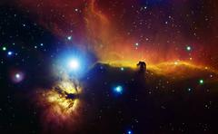 Alnitak region in Orion with Flame Nebula (NGC 2024), and Horsehead Nebula. - stock photo