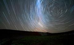 Star trails around the south celestial pole, Somuncura, Argentina. Stock Photos