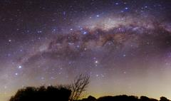 The Milky Way above a rural landscape in San Pedro, Argentina. Stock Photos