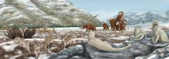 British landscape with various prehistoric animals. Stock Illustration