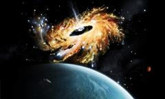 A space shuttle tries to avoid the gravity well of a supermassive black hole. - stock illustration