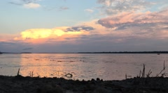 Timelapse Wideshot Amazon River Clouds at Sunset Stock Footage