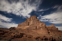 Red rock formation illuminatd by moonlight in Arches National Park, Utah. Stock Photos