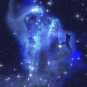 The brilliant blues of this star making nebula shine throughout the cosmos. Piirros