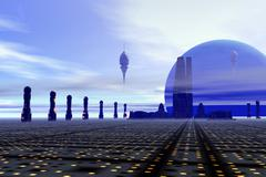 Futuristic city on a planet at the edge of the Milky Way. Stock Illustration