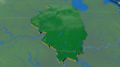 Illinois - United States, region extruded. Bumps shaded Stock Footage