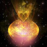 Stars are born in this hourglass shaped nebula out in the cosmos. Stock Illustration