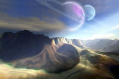 Mountainous landscape on a futuristic world with two beautiful moons. Stock Illustration
