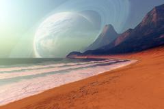 Cosmic seascape on an alien planet. Stock Illustration