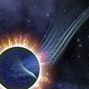 Powerful energies surge out into space from this gas giant. Stock Illustration
