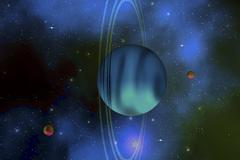 Vertical rings surround the planet of Uranus. Stock Illustration