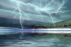Thunderclouds and lightning move over the mountains and a nearby lake. Stock Illustration