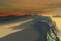 The sun sets on this desert landscape. Stock Illustration