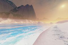 The sandy beach of a seascape. Stock Illustration