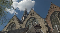 CLOSE UP: Beautiful architecture and detailed ornaments of cathedral Oude Kerk Stock Footage