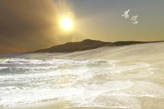Two white doves fly over waves coming to shore on a remote beach. Stock Illustration