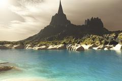 A mountain spire overlooking the turquoise waters of a sea inlet. - stock illustration