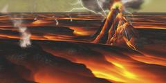Volcanic eruption on an alien planet. - stock illustration
