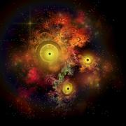 A collection of colorful nebulae, gases, dust, stars and interstellar matter. Stock Illustration