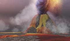 Molten magma flows from an erupting volcano. Stock Illustration