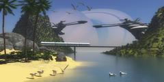 A futuristic, tropical paradise colony on Enceladus, one of Saturn's moons. - stock illustration