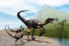 Velociraptor offspring beg mother dinosaur for food near a pond. - stock illustration