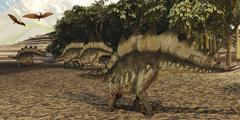 A herd of Stegosaurus walk down a muddy riverbed. - stock illustration