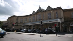 Train Station in the City Of Bath in England - Establishing shot Stock Footage