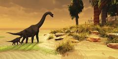 A mother Brachiosaurus Dinosaur and her offspring. - stock illustration