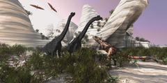 A Carnotaurus dinosaur approaches two Brachiosaurus for a battle. - stock illustration