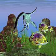 Angelfish try to swim out of the reach of a Plesiosaurus dinosaur. Stock Illustration