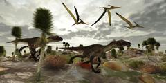 Two Utahraptors hunt for prey as pterosaurs fly above. Stock Illustration
