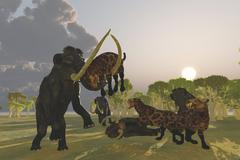 A pack of Saber Tooth Cats attack a small Woolly Mammoth. - stock illustration