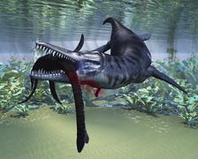 A Liopleurodon attacks a Plesiosaurus. - stock illustration
