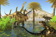 Two Dilong dinosaurs guard their nest from a Coahuilaceratops. Stock Illustration
