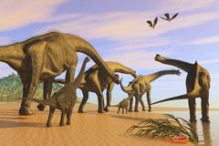 A Brachiosaurus herd walks down a wet sandy beach. Stock Illustration