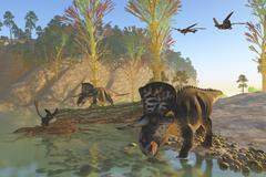 Zuniceratops dinosaurs drinking water from a river. Stock Illustration