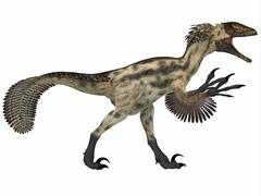Deinonychus, a carnivorous dinosaur from the early Cretaceous Period. - stock illustration