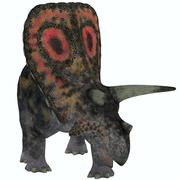 Torosaurus, a herbivorous dinosaur from the Late Cretaceous. - stock illustration