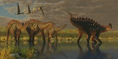 A Miragaia dinosaur bellows in protest as others try to join him in the marsh. Stock Illustration