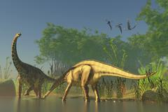 Spinophorosaurus dinosaurs grazing the inhabited swamps of the Jurassic period. Stock Illustration