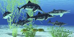 Stenopterygius is an extinct icthyosaur from the Jurassic Age of Europe. Stock Illustration