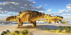 Euoplocephalus dinosaurs munch on melons on an ocean beach. Stock Illustration