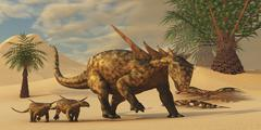 A Sauropelta mother leads her offspring in a desert area of North America. - stock illustration