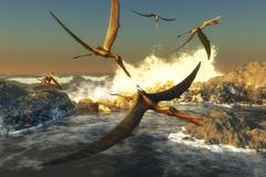 A flock of Anhanguera pterosaurs catch fish off a rocky coast. Stock Illustration