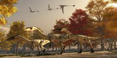 Three Eudimorphodons fly above a group of Coelophysis in an autumn forest. - stock illustration