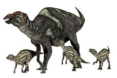 Maiasaura dinosaur with offspring. Stock Illustration