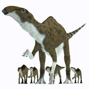 Brachylophosaurus with offspring. - stock illustration